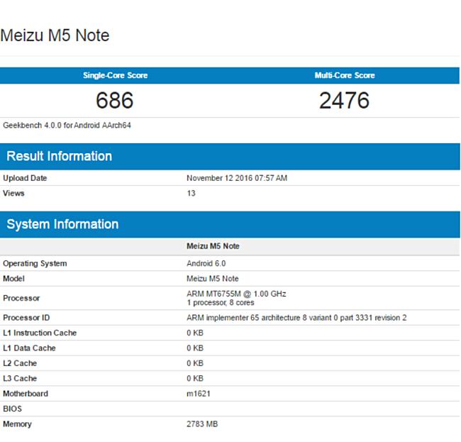 Meizu M5 Note засветился вAnTuTu иGeekBench