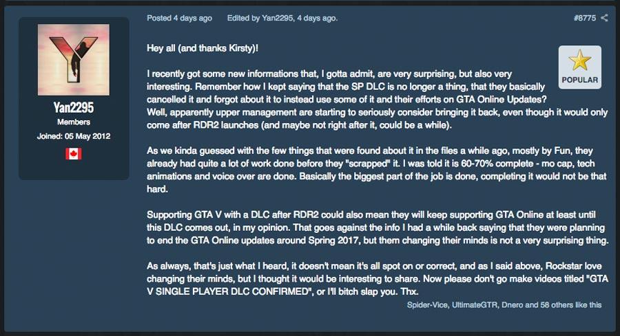 Rockstar разработает новые сюжетные дополнения для GTA V