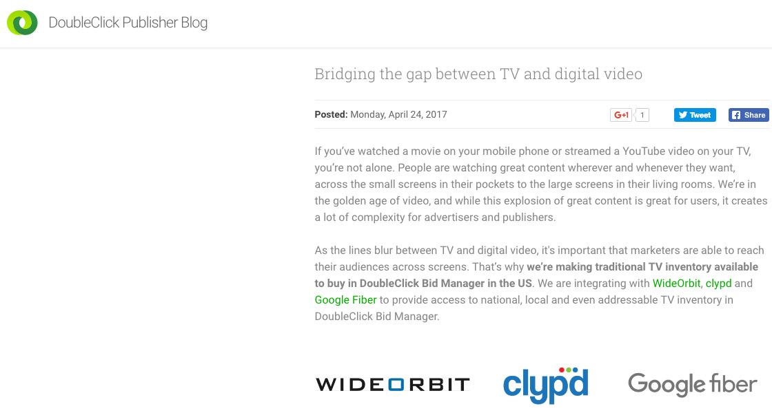 Google начала торговать телерекламу через DoubleClick Bid Manager