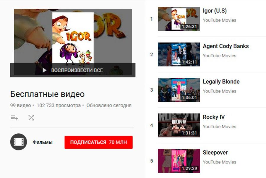 в Youtube можно бесплатно смотреть фильмы