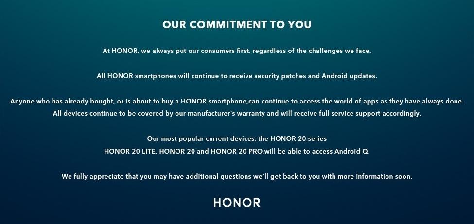Honor объявил об обновлении своих смартфонов до Android Q